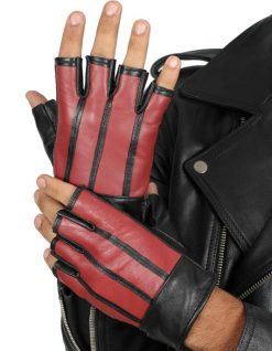 Red and black leather gloves fingerless