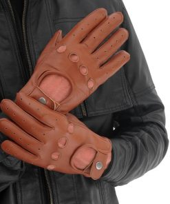 Tan Leather Motorcycle Gloves