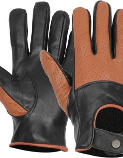 Tan and black leather gloves
