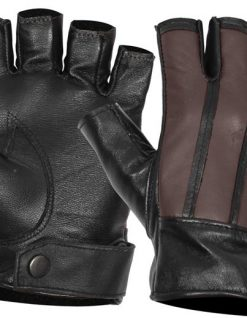 fingerless leather glove dark brown