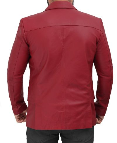 leather blazer maroon