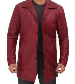 maroon leather coat 3 4 length