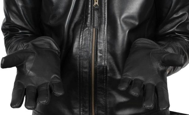 men black leather gloves