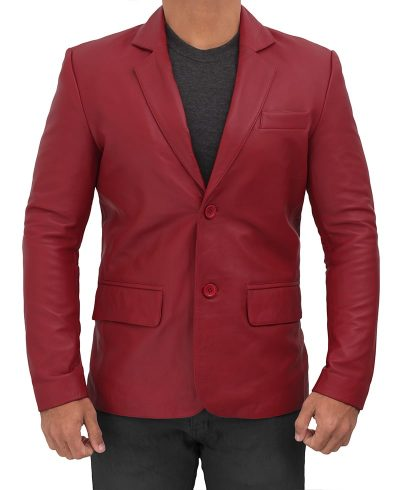 men maroon blazer