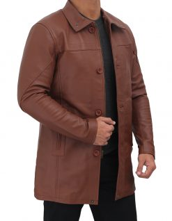 mens real leather coat brown