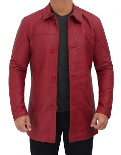 mens real leather maroon coat