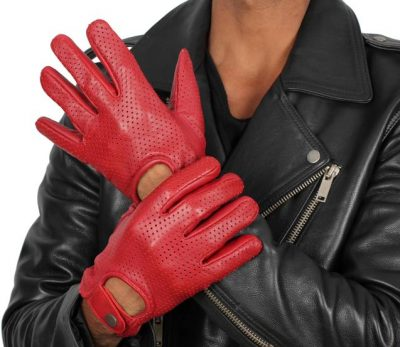 mens red leather gloves maroon