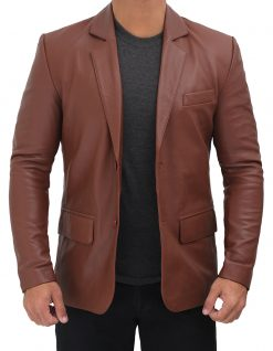 real leather brown blazer for men