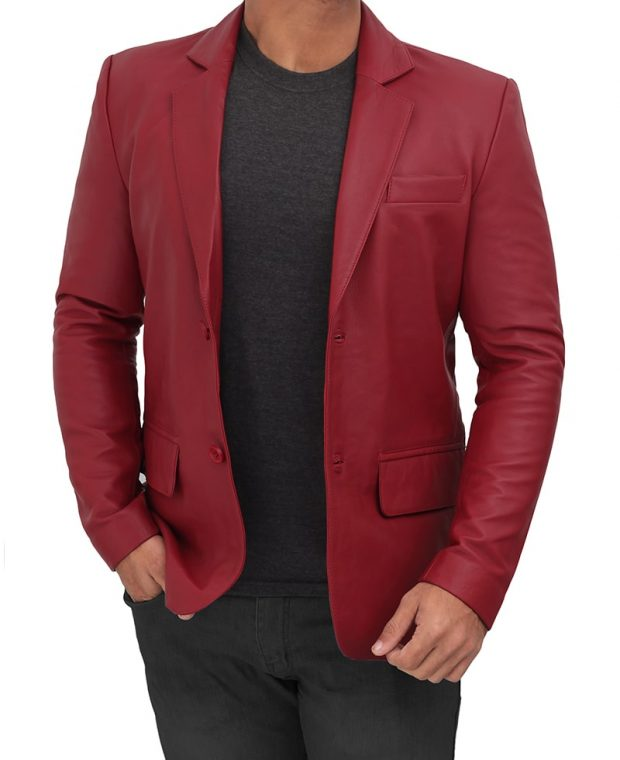 red maroon leather blazer