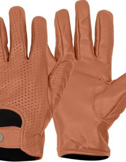tan leather perforated driving gloves