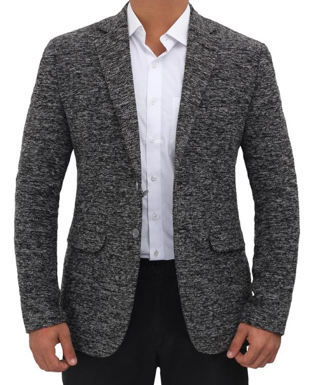 grey textured wool blazer jacket