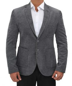 vintage grey wool blazer men