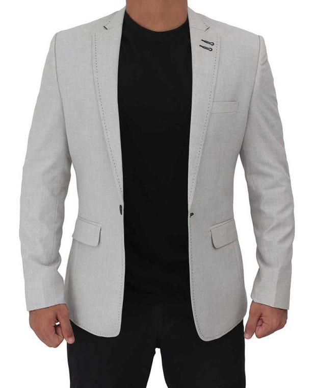 white grey mens wool blazer coat
