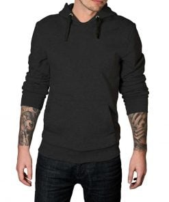 Dark grey plain hoodie for men
