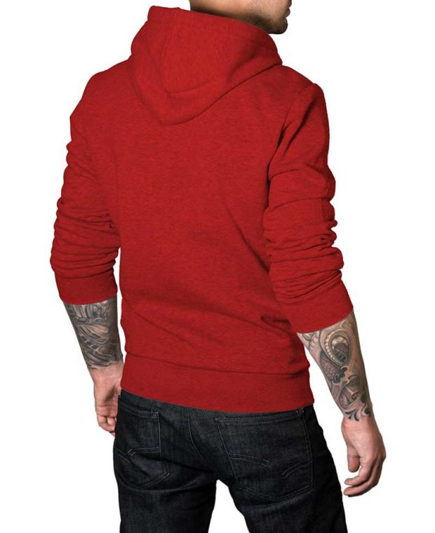 Bright red hoodie for men