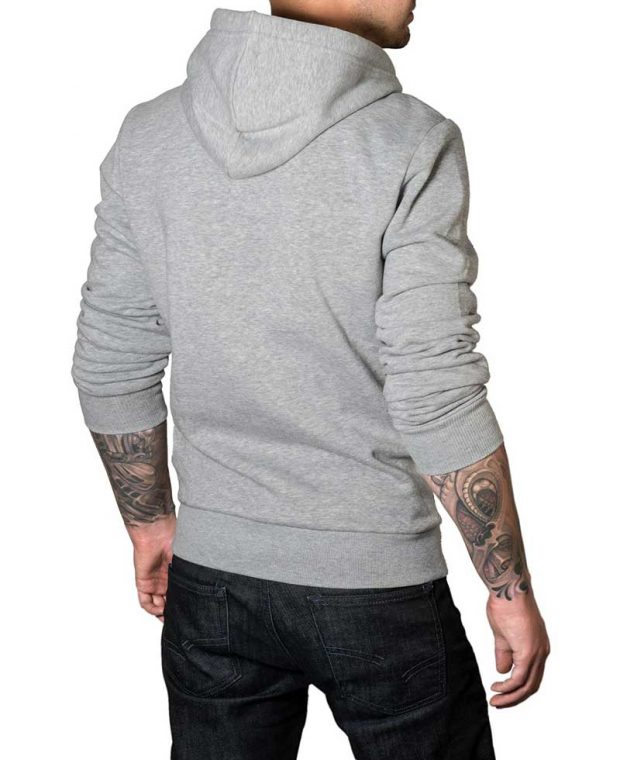 mens light grey plain hoodie