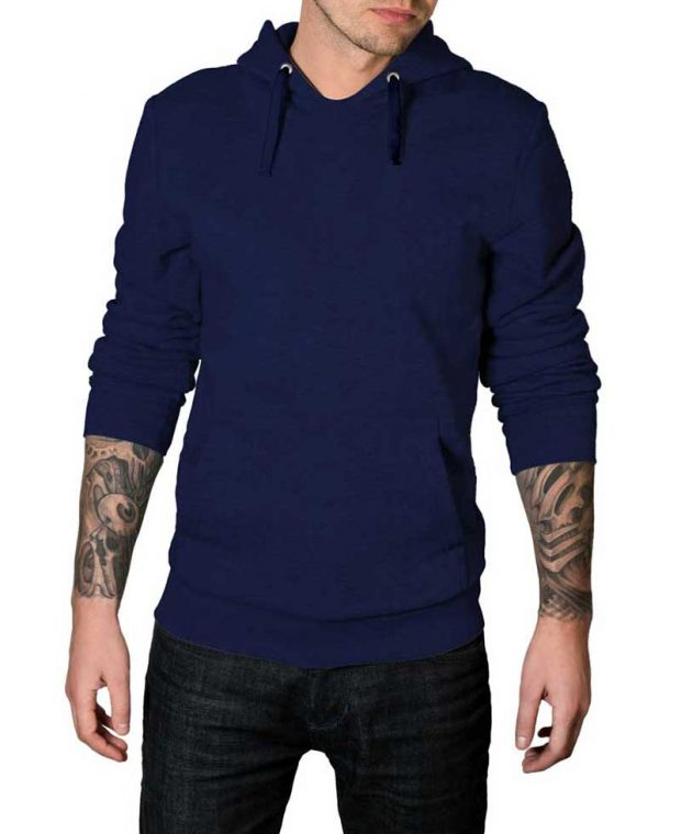 navy blue plain hoodie for men