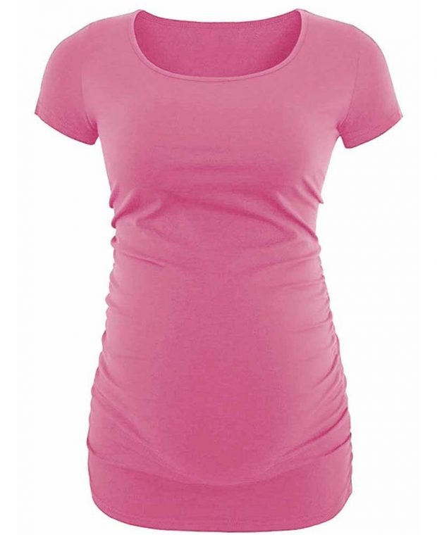 women pink maternity shirt