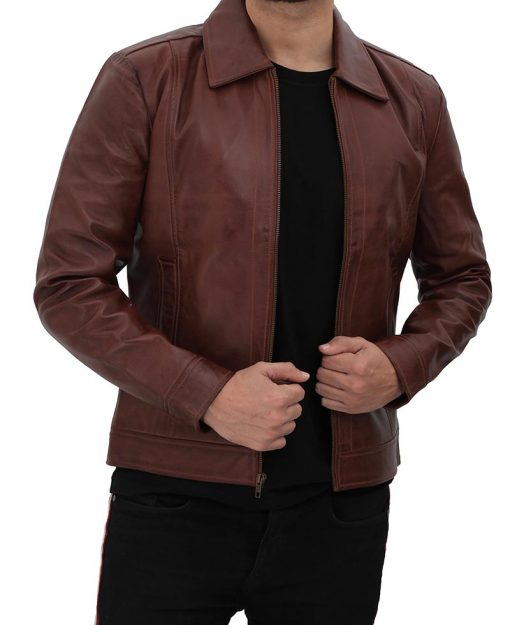 Brown Vintage Leather Jacket men