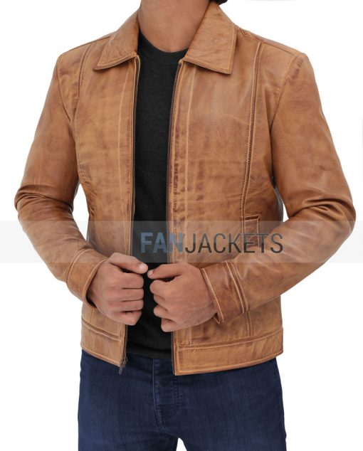 Cognac leather jacket men john wick