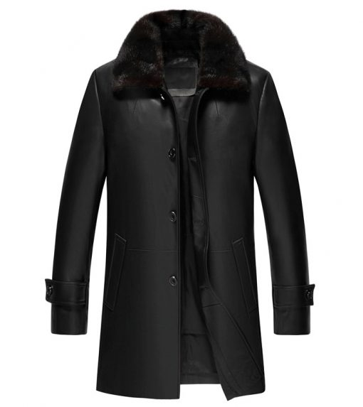 Fur collar black leather coat