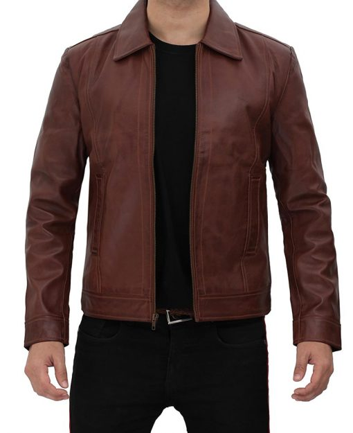 Leather Jacket With Shirt Collar Reeves