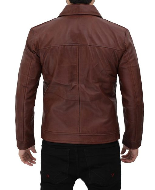 Mens Shirt Collar Brown Leather Jacket