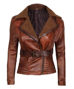 Womens Brown Shearling leather jacket tomb rider