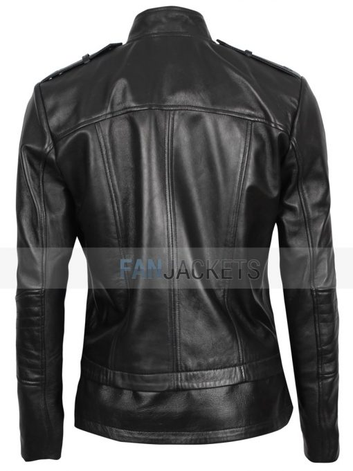 asymmetrical leather jacket women