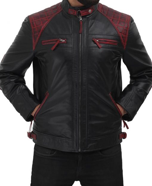 black and maroon quilted leather biker jacket