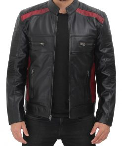 black cafe racer jacket with maroon patches