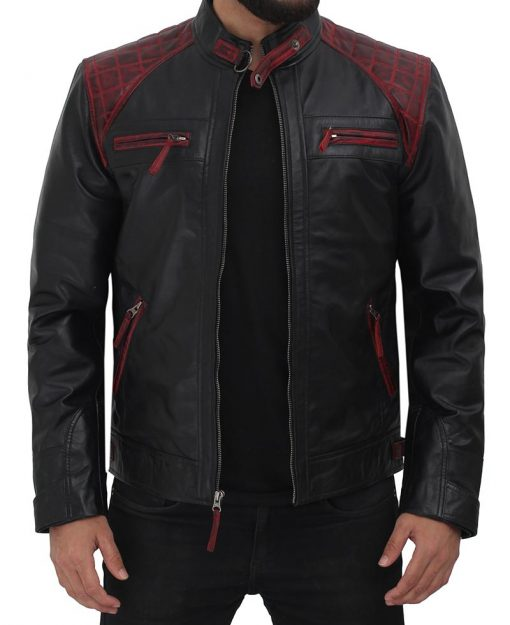 black leather cafe racer jacket with maroon patches