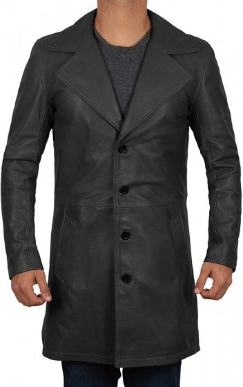 black leather car trench coat men