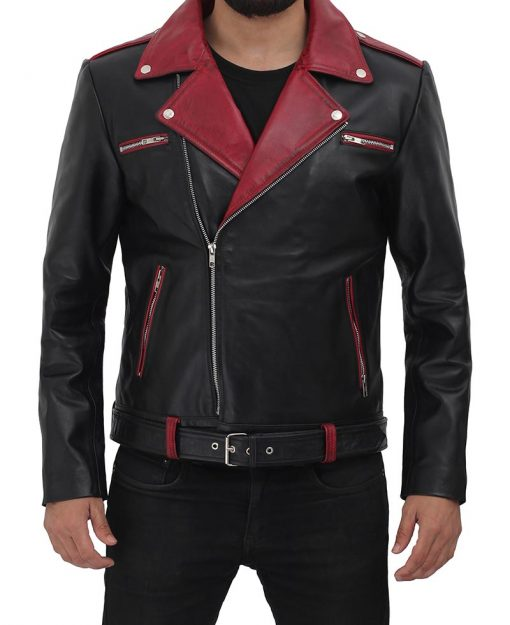black maroon leather motorcycle jacket
