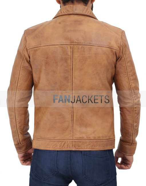 distressed cognac leather jacket men