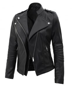 lambskin leather black biker jacket women