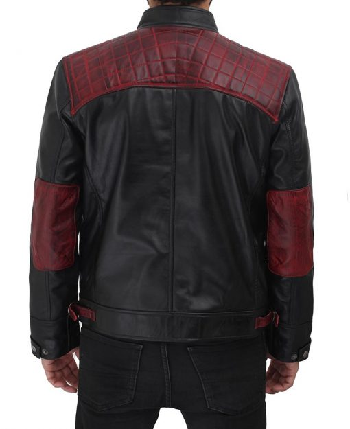 maroon and black leather jacket for men