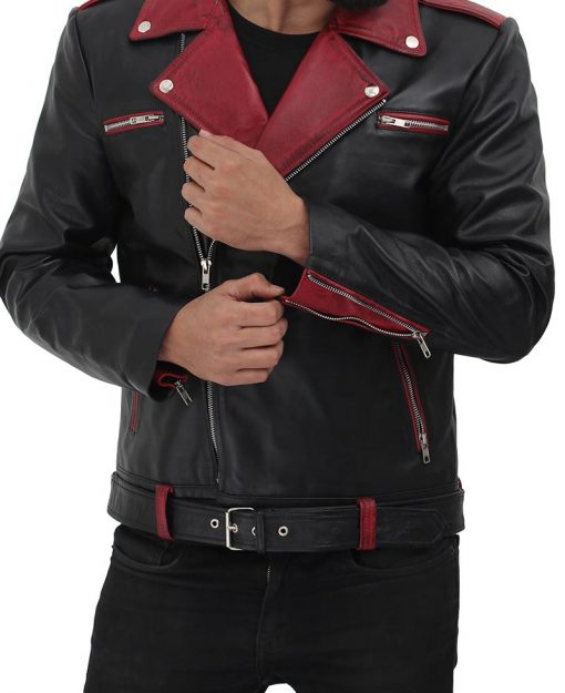 maroon and black moto jacket