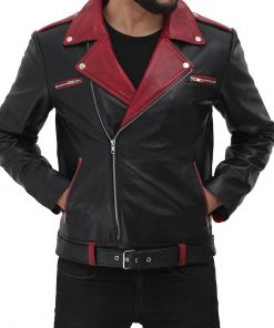 maroon and black moto leather jacket