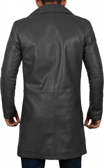 men real leather car coat black