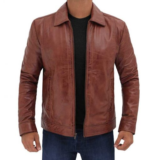 mens brown leather waxed jacket