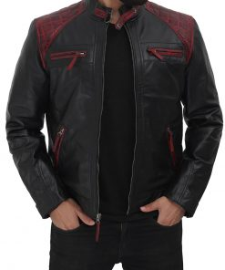 mens cafe racer leather jacket maroon and black