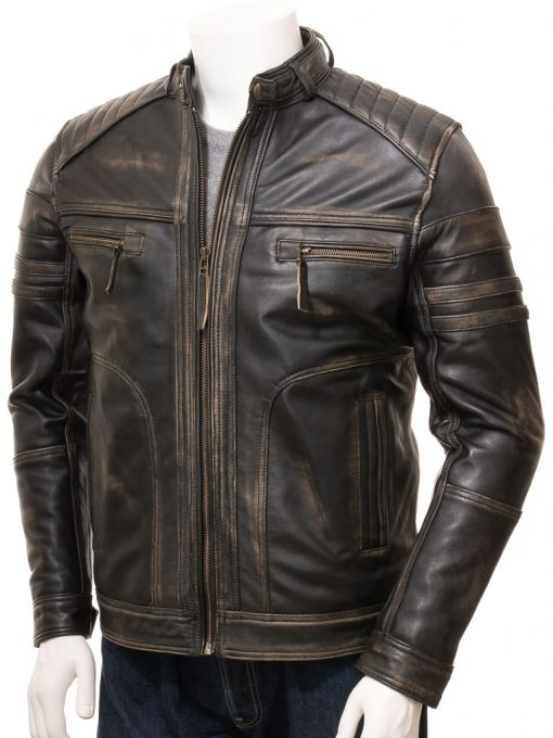 mens distressed brown leather jacket