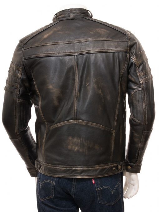 mens quilted leather vintage jacket