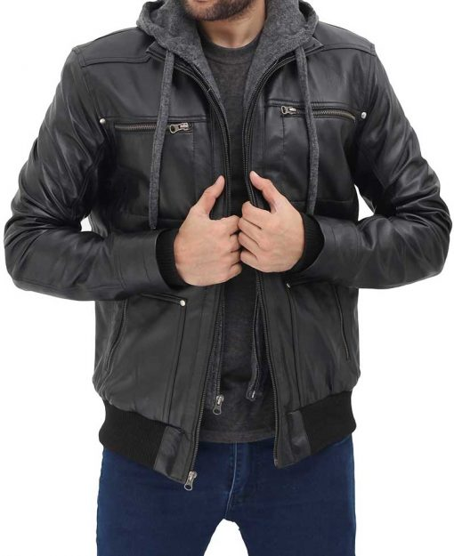 mens real leather black hooded jacket