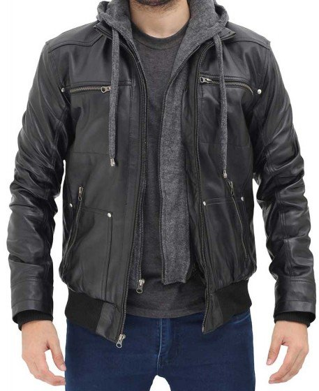 real leather black jacket men