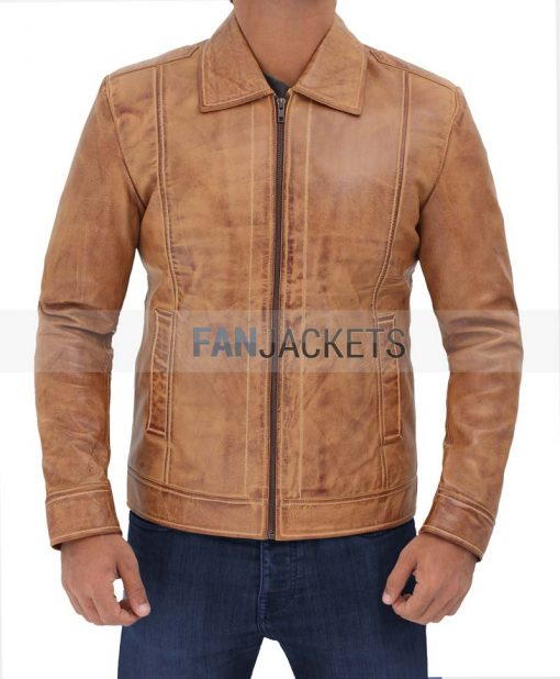 real leather light brown jacket