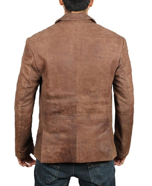 real leather mens blazer