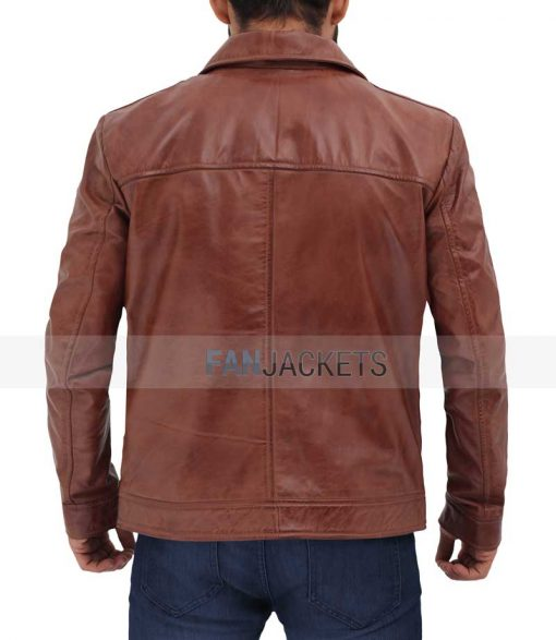 waxed leather jacket brown men