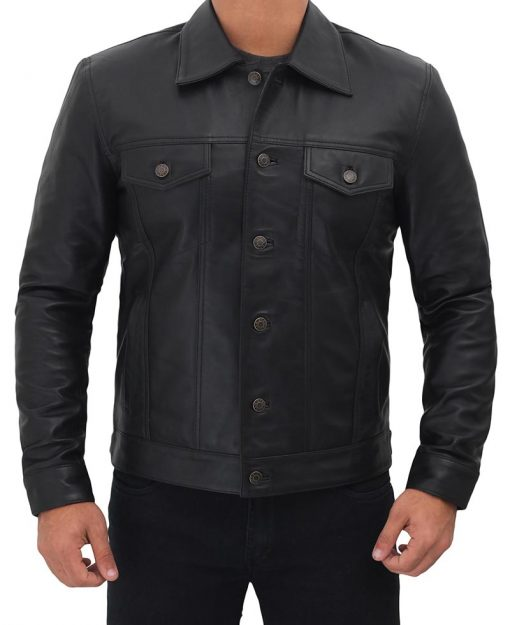 Black Trucker leather jacket men